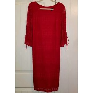 Red Dress Lace Overlay R&K 16W 16